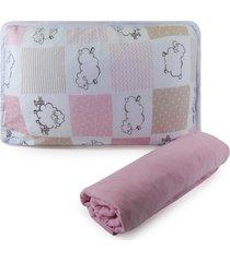 jogo de cama berço em malha 2 peças - ovelhinha rosa