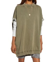 women's free people grove cotton blend pullover, size small - green