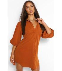 oversized blouse jurk met pofmouwen, kameel