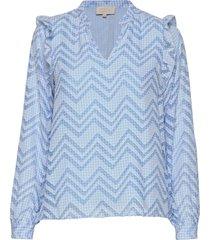 amilla blouse blus långärmad blå minus