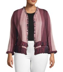 nic+zoe women's plus striped fringe cardigan - size 1x (14-16)