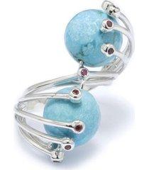 anel kumbayá ultimate  semijoia banho de ródio pedra turquesa e cravação de zircônia rubi