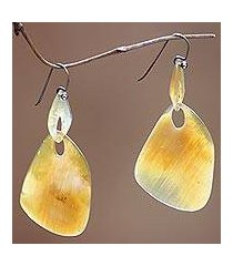 buffalo horn dangle earrings, 'benoa sunrise' (indonesia)
