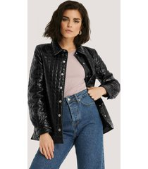 na-kd trend quilted pu jacket - black