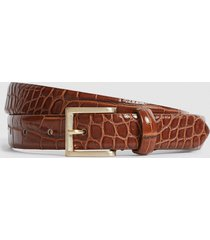 reiss molly - leather croc embossed belt in caramel, womens, size l