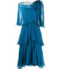 alberta ferretti tiered semi-sheer dress - blue
