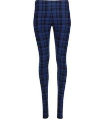 leggings estampado cuadros color azul, talla 10