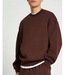 river island mens brown oversized sweatshirt