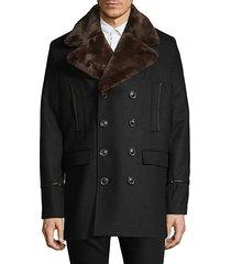 faux fur lapel coat