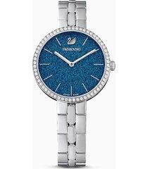 orologio cosmopolitan, bracciale di metallo, azzurro, acciaio inossidabile