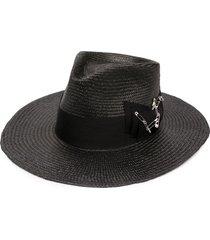 nick fouquet midnight bow fedora hat - grey