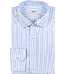 camicia da uomo su misura, canclini, natural stretch righe azzurre, primavera estate | lanieri