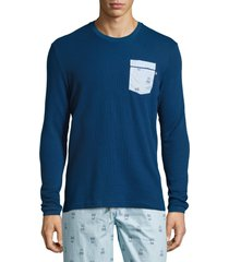 psycho bunny mens long-sleeve royal blue waffle-knit lounge pocket shirt, medium