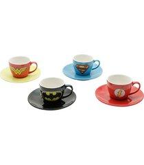 jogo 8 peças xícaras de café em porcelana  super heróis logo colorido