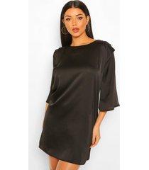 loshangende jurk met schouderpads en plooien, black