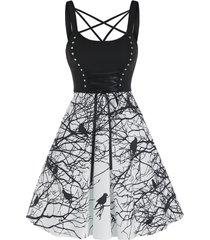 strappy bird print studded high waist cami dress