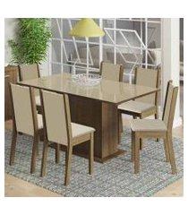 conjunto sala de jantar moscou plus madesa mesa tampo de vidro com 6 cadeiras rustic/crema/pérola