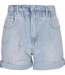 frame elastic waist denim shorts