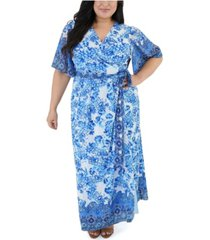maree pour toi border printed maxi dress