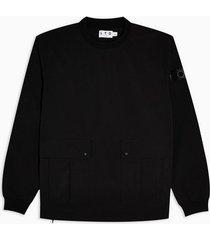 mens topman ltd black woven sweatshirt
