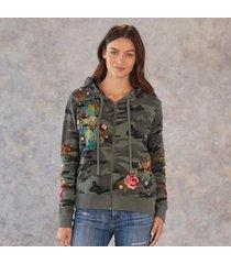 sundance catalog women's shula modern zip up hoodie in light moss xl