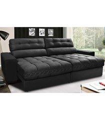 sofã¡ retrã¡til e reclinã¡vel com molas ensacadas cama inbox master 2,12m tecido suede preto - incolor - dafiti