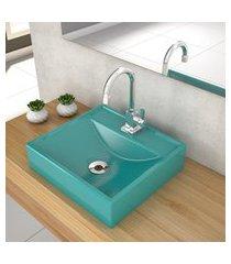 cuba de apoio para banheiro compace ravena q39w quadrada azul turquesa