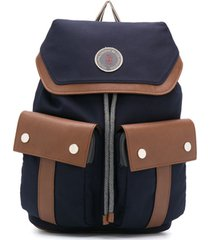 brunello cucinelli kids mochila com recorte de couro - azul