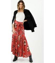 falda de mujer, silueta amplia, con diseño maxi y boleros