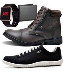 2 pares bota coturno adventure e sapatênis casual com carteira e relógio led casual zaru 560-900mr preto
