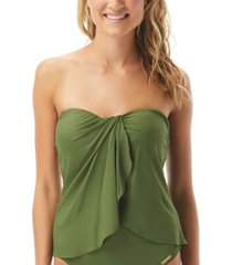 vince camuto riviera strapless draped tankini top women's swimsuit