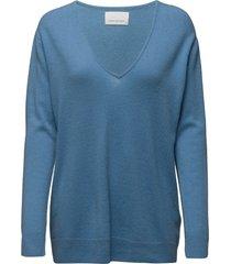 boston v-neck 6304 stickad tröja blå samsøe samsøe
