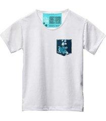 camiseta masculina algodão bolso estampa flor moderno - masculino