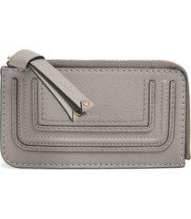 women's chloe medium marcie leather zip card holder - grey