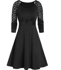 a line raglan sleeve solid dress