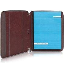 piquadro designer small leather goods, blue square - zip around slim notepad leather holder