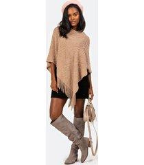 fidelity open knit fringe poncho - taupe