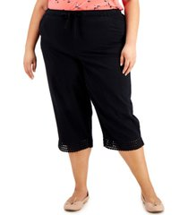 karen scott plus size cotton crochet-hem capri pants, created for macy's