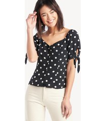 1. state women's vintage dot tie sleeve blouse in color: rich black size xs from sole society