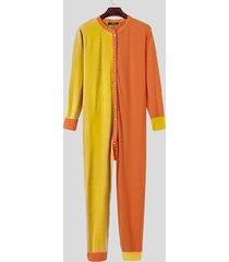 incerun hombre color patchwork button up mono pijama de una pieza home lounge