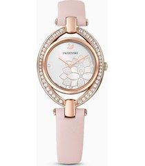 orologio stella, cinturino in pelle, rosa, pvd oro rosa