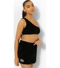woman velours crop top en shorts set, black