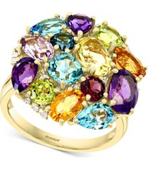 effy multi-gemstone (7-1/2 ct. t.w.) & diamond (1/10 ct. t.w.) cluster ring in 14k gold