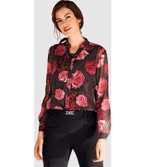 blouse paola zwart::granaatrood