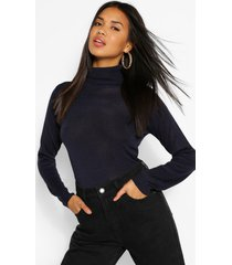 basic rib knit roll neck sweater, navy