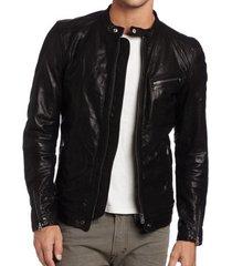 handmade mens slim fit black leather jacket, men slim fit biker fashion jacket