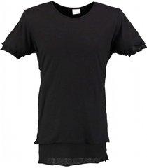 pure white zwart lang zacht soepel laagjes shirt loose fit