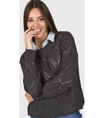 sweater gris moni tricot calado