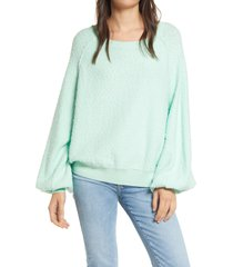women's free people found my friend boucle pullover, size small - green