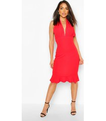 plunge fishtail midi dress, red